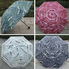 New Man's 3 Folding Umbrella Newspaper Print Rain Umbrella Light Anti UV Parasol