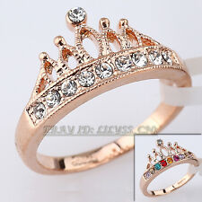 A1-R3111 Fashion Simulated Gemstone Crown Ring 18KGP Swarovski Crystal