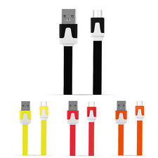 10Color 2M Flat Noodle Micro USB Charger Sync Data Cable Cord for Android HTC