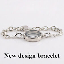 Vogue Magnetic Crystal Living Memory Locket Bracelet For Floating Charms Jewelry