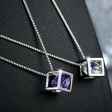 2015 Fashion Quality 925 silver Plated Magic Cube Zircon Pendant Charm Necklace