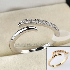 Micro Inlays Fashion Ring 18KGP CZ Rhinestone Crystal Size 5.5-8