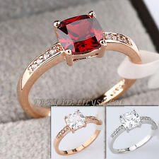 Fashion Solitaire Simulated Gemstone Ring 18KGP CZ Rhinestone Crystal