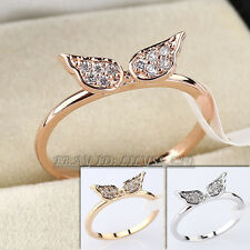 Micro Inlays Angel Wings Fashion Ring 18KGP CZ Rhinestone Crystal Size 5.5-8