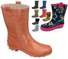 Womens Floral Wide Calf Fitting Short Wellies Rain Snow Wellington Ladies Boots