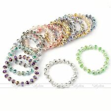 Faceted Colorful Crystal Glass Bead Flower Bracelet Bangle Elastic Stretchy