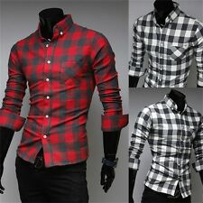 New Mens Slim Fit Casual & Dress Plaid Check Shirt Long Sleeve Black Red