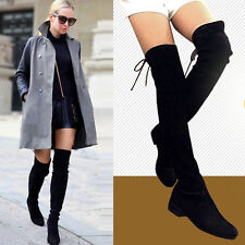 Womens Stretchy Flat Pull On Riding Punk Fashion Sexy Over The Knee High Boots