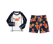 NWT CRAZY 8 Two-piece Boys Size 2T 3T 4T or 5T Crab Rash Guard Top & Swim Trunks