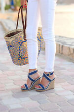 Tory Burch Lilah Wedge Sandals cobalt size 8 new in box
