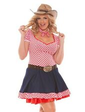 Sexy Cowgirl Costume 4X 5X Women Plus Adult Red Plaid Western Dress Halloween