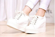 Chic New Womens Hidden Wedge Heel Lace Up Athletic Creepers Platform Sports Shoe