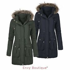 WOMENS LADIES FAUX FUR HOODED PARKA PLUS SIZES QUILTED WINTER JACKET COAT 8-24