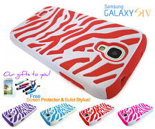 Fun Zebra Tiger Stripes Dual Layer Silicone Case Cover For Samsung Galaxy S4
