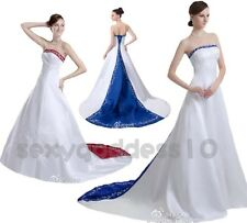 Faironly Embroidery Satin Wedding Dress Bridal Gown Size 6 8 10 12 14 16 18
