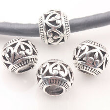 10/20Pcs Tibet Silver Heart Love Round Big Hole Bracelet Loose Spacer Beads 10mm