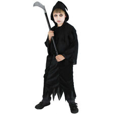 BLACK CHILDS GRIM  REAPER HALLOWEEN FANCY DRESS COSTUME BLACK DEATH OUTFIT