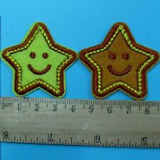 2 Star Smile Face Iron on Sew Patch Applique Badge Embroidered Biker Applique