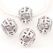 10/20Pcs Tibet Silver Craved Charming Round Hollow Out Beads Marking DIY 10mm