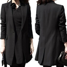 New Women Lapel Long Sleeve Suit Office Top Long Jacket Blazer Coat Plus Size