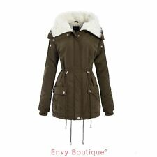 WOMENS LADIES HIGH FLEECE NECK MILITARY PARKA COAT CARGO POCKETS QUILTED JACKET
