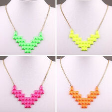 Fashion Women Fluorescent Alloy Chain Geometry Heart Bib Pendant Charm Necklace