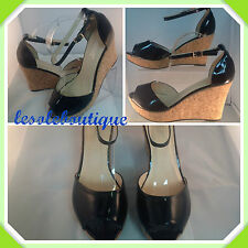 LADIES WOMENS BLACK PATENT PEEP TOE ANKLE STRAP WEDGE SANDAL SHOE SIZES UK 3-8