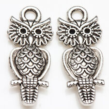 10/20Pcs Tibet Silver Charms Standing Owl Shape Pendants Finding DIY 19*10mm