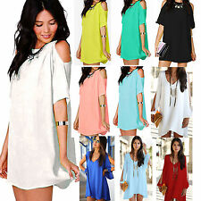 Womens Boho Chiffon Loose Long T-shirt Blouse Top Mini Short Dress Party Evening