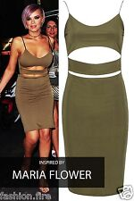 New Womens Ladies Celeb Inspired Bodycon Cut Out Mini Dress Casual Midi UK 8-14
