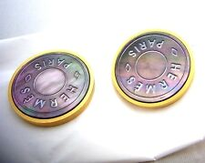HERMES BEAUTIFUL BIJOUTERIE FANTAISIE MOTHER OF PEARL MAT SILVER OR(GOLD)EARRING