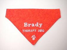 Therapy Dog Personalized Embroidered Slide On Dog Bandana with Paw