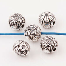 Wholesale 10/20Pcs Tibet Silver Carved Charms Round Spacer Loose Beads  8*6mm