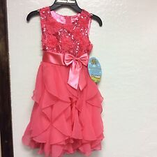 American Princess Girls Special Occasion dress, ruffle dress, Coral/pink