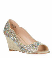 Bridal Glitter Rhinestone Peep Toe Wedge Pump HALF-9