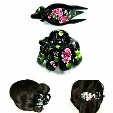 Big Black Plastic Hair Claw Clamp Jaw Clip Pin Accessories Hand Painting Flower
