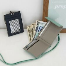Neck Strap Trifold Wallet Billfold Cash Coin ID Card Holder Mini Purse Leather