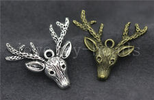 5/20/100pcs Tibet Silver/Bronze Beautiful Deer Head Charms Pendant DIY 36x32mm