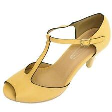 LADIES NUDE OPEN-TOE T-BAR LOW HEEL MARY JANE COURT WORK SHOES PUMPS SIZE 3-8