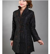 Charming Chinese Women's Silk jacket /coat Black Sz 8 10 12 14 16 18