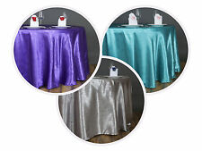 """120"""" Embossed Round Satin Tablecloths Wedding Linens Decoration Supplies"""