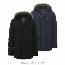 BOYS KIDS BACK TO SCHOOL FUR HOODED PADDED QUILTED PARKA JACKET COAT AGE 7-13