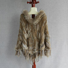 Hood Winter Lady Women Real Rabbit Fur Raccoon fur Knit Cape Cappa Cloak Poncho