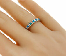 ▌925 Sterling Silver Blue Opal Eternity Band Ring Size 5,6,7,8,9,10 »R12/10