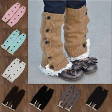 Girls Kids lovely Trendy Knitted Button Lace Leg Warmers Trim Boot Cuffs Socks