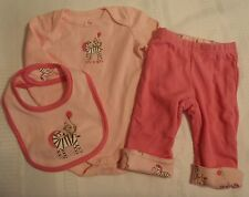 GYMBOREE Brand New Baby 3-6 Month Bodysuit Bib Reversible Zebra Pant Outfit NWT