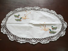 """Handmade Embroidery Crochet White Cotton 14"""" x 20"""" Oval Doily Placemat"""