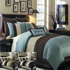 Bed in Bag Comforter Bedroom 8Pc Bedding Set Nature Colors Blocked Color Options