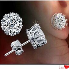 1 Pair Fashion Women's Earring CZ White Gold Filled Sapphire Ear Stud Earrings