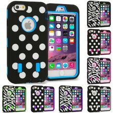 For iPhone 6S PLUS Hybrid Cover Case With Built Screen Protector Polka Dot Zebra